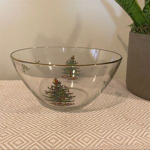 Spode Glass Christmas Tree Salad Bowl Gold Rim